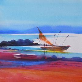 Riverscape - 15 by Sunil Kale, , , Cyan color