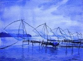 Chinese Fishing Nets In Twilight by Ramesh Jhawar, , , Blue color