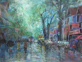 Rainy Season, Panchgani Street - 4 by Sunil Kale, , , Green color