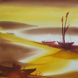 Ocean Moods - 8 by Sunil Kale, , , Beige color