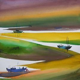 Ocean Moods - 9 by Sunil Kale, , , Green color