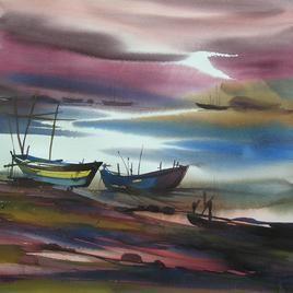 Ocean Moods by Sunil Kale, , , Brown color
