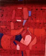 That by Hem Raj, Abstract, Abstract Painting, Oil on Canvas, Red color