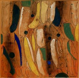That 7 by Hem Raj, Abstract, Abstract Painting, Oil on Canvas, Brown color
