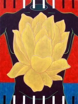 Flower - Beauty by Rajan Fulari, Conceptual, Conceptual Painting, Acrylic on Canvas, Beige color
