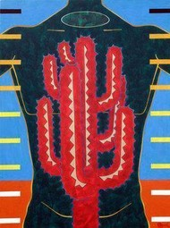 Cactus - Beast by Rajan Fulari, Conceptual, Conceptual Painting, Acrylic on Canvas, Blue color