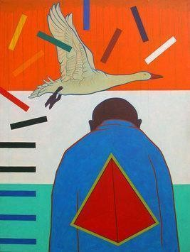 Flight Of Truth by Rajan Fulari, Conceptual, Conceptual Painting, Acrylic on Canvas, Orange color