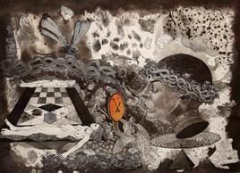 When Time Stood Forever I by V Nagdas, Illustration Printmaking, Etching on Paper, Brown color