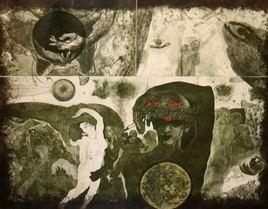 Memories 1986-1996 by V Nagdas, Illustration Printmaking, Etching on Paper, Beige color