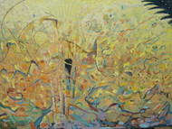 Whoa! Whoa! by Anuradha Nalapat, Abstract, Abstract Painting, Oil on Canvas, Beige color