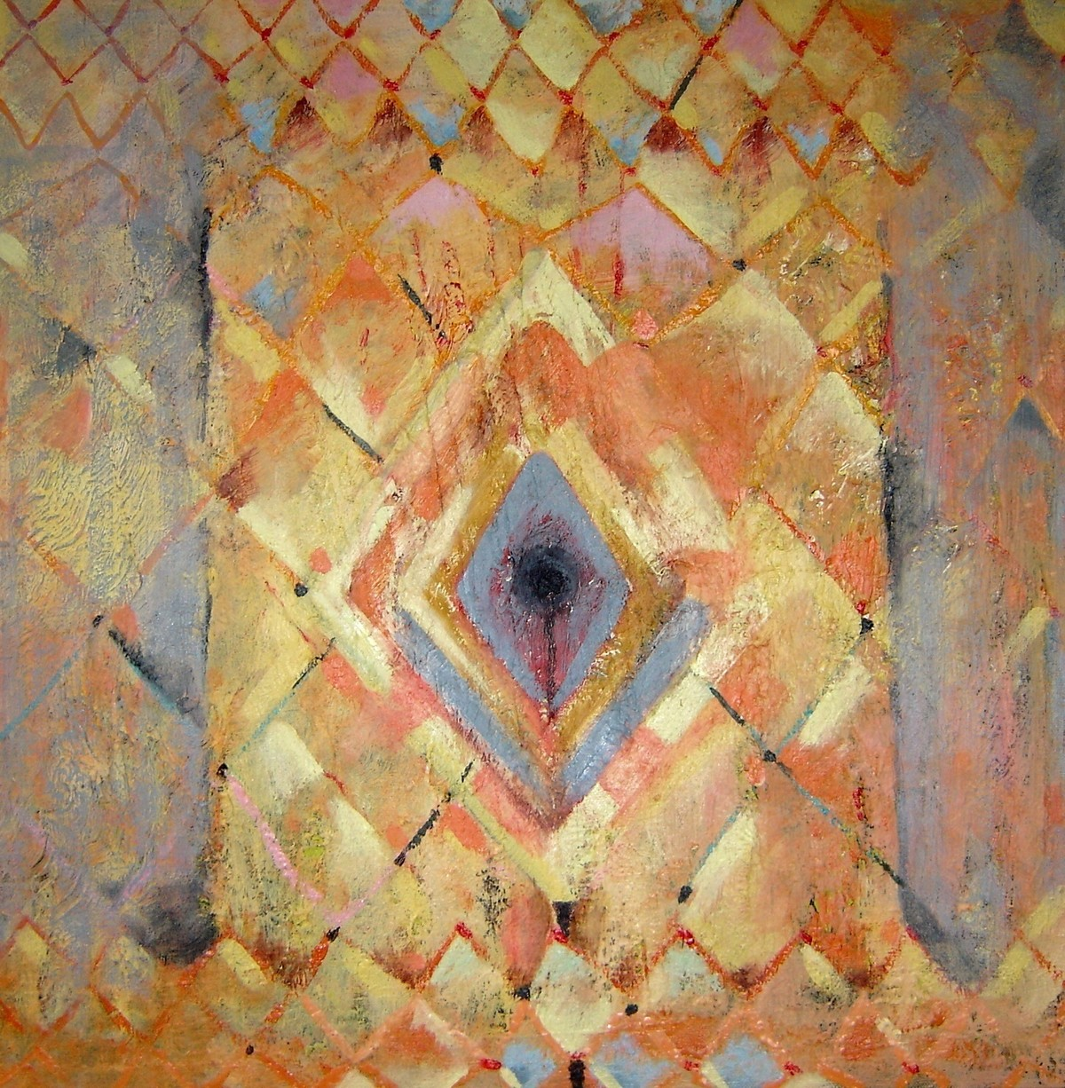 Untitled by Anuradha Nalapat, Geometrical, Geometrical Digital Art, Oil on Canvas, Brown color