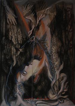 Untitled by Hanuman Kambli, Painting, Mixed Media on Paper, Gray color