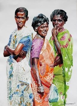IndianWomen by Rajkumar Sthabathy, Realism, Realism Painting, Watercolor on Paper, Gray color