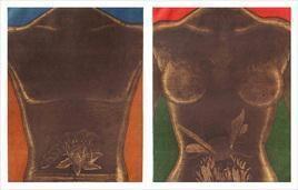 Lotus in Black Water & Bee on White Skin by Rajan Fulari, Conceptual, Conceptual Printmaking, Etching on Paper, Brown color