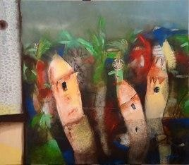Out Of My Cupboard by Arindam Chakraborty, Expressionism Painting, Acrylic on Canvas, Brown color