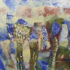 Melodies 4 by Arindam Chakraborty, Expressionism Painting, Tempera on Board, Brown color