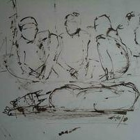 The Epitaph Series No 9 by Arindam Chakraborty, Illustration Painting, Pen & Ink on Paper, Gray color