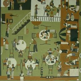 Khaana-Peena by Soma Das, Pop Art, Pop Art Painting, Gouache on Board, Green color