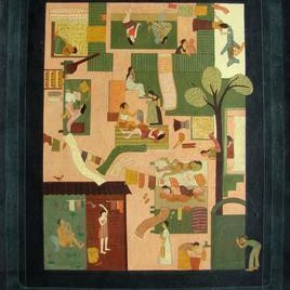 On The Mobile Screen by Soma Das, Conceptual, Conceptual Painting, Acrylic on Board, Brown color