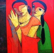 Mirror by Ganesh Patil, Expressionism Painting, Acrylic on Canvas, Red color