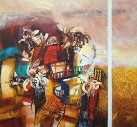 Neighbour by Arindam Chakraborty, Expressionism Painting, Mixed Media on Canvas, Brown color
