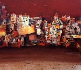 Stolen Soul 4 by Arindam Chakraborty, Expressionism Painting, Acrylic on Canvas, Brown color