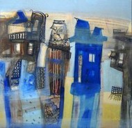 The House At The End Of The Road by Arindam Chakraborty, Expressionism Painting, Mixed Media on Canvas, Blue color