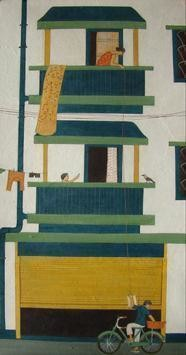 Upstairs To Downstairs by Soma Das, Pop Art, Pop Art Painting, Acrylic on Board, Green color