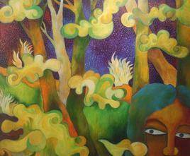 In The Woods by Chaitali Chatterjee, Painting, Oil on Canvas, Brown color
