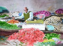 Vegetable Vendor by Ramesh Jhawar, , , Pink color