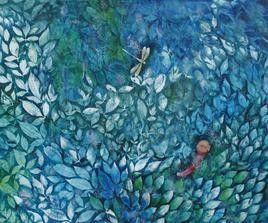 Song Of Nature by Rajshekhar Samanna, Painting, Oil on Canvas, Cyan color