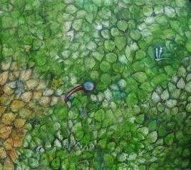 Song Of Nature by Rajshekhar Samanna, Painting, Oil on Canvas, Green color