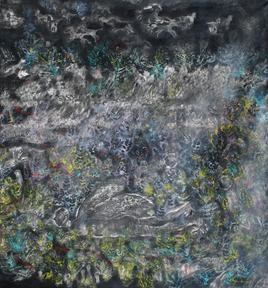 Song Of Nature by Rajshekhar Samanna, Painting, Oil on Canvas, Gray color