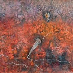 Song Of Nature by Rajshekhar Samanna, Painting, Oil on Canvas, Brown color