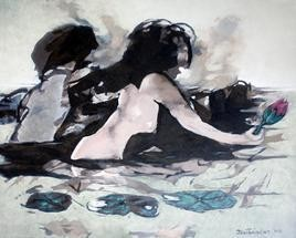 At The Lotus Spa by Tirthankar Biswas, Painting, Oil on Canvas, Gray color
