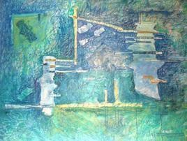 Google Map - Earthquake by Prashant Mahangare, Conceptual, Conceptual Painting, Mixed Media on Paper, Cyan color