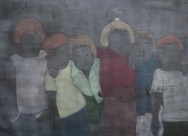 Where Are You by Dushyant Patel, Painting, Ink on Paper, Gray color