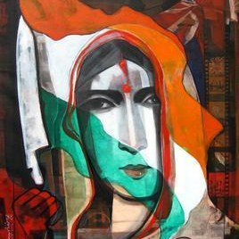Revolution by Deepankar Majumdar, Decorative, Decorative Painting, Acrylic on Canvas, Brown color