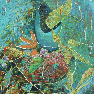 Lo! Pattern Pattern! by Anuradha Nalapat, Abstract, Abstract Painting, Oil on Canvas, Green color