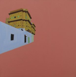 Pink City 5 by Ajay Mishra, Minmalism, Minmalism Painting, Acrylic on Canvas, Brown color