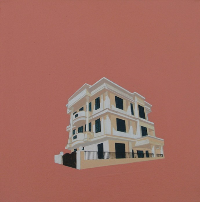Pink City 4 by Ajay Mishra, Minimalism, Minimalism Painting, Acrylic on Canvas, Brown color