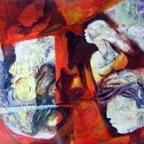 Janani Janambhoomi by Ravinder Sharma, Conceptual, Conceptual Painting, Acrylic on Paper, Brown color