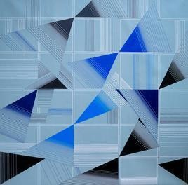 Space - I by S K Sahni, Geometrical, Geometrical Painting, Acrylic on Canvas, Cyan color