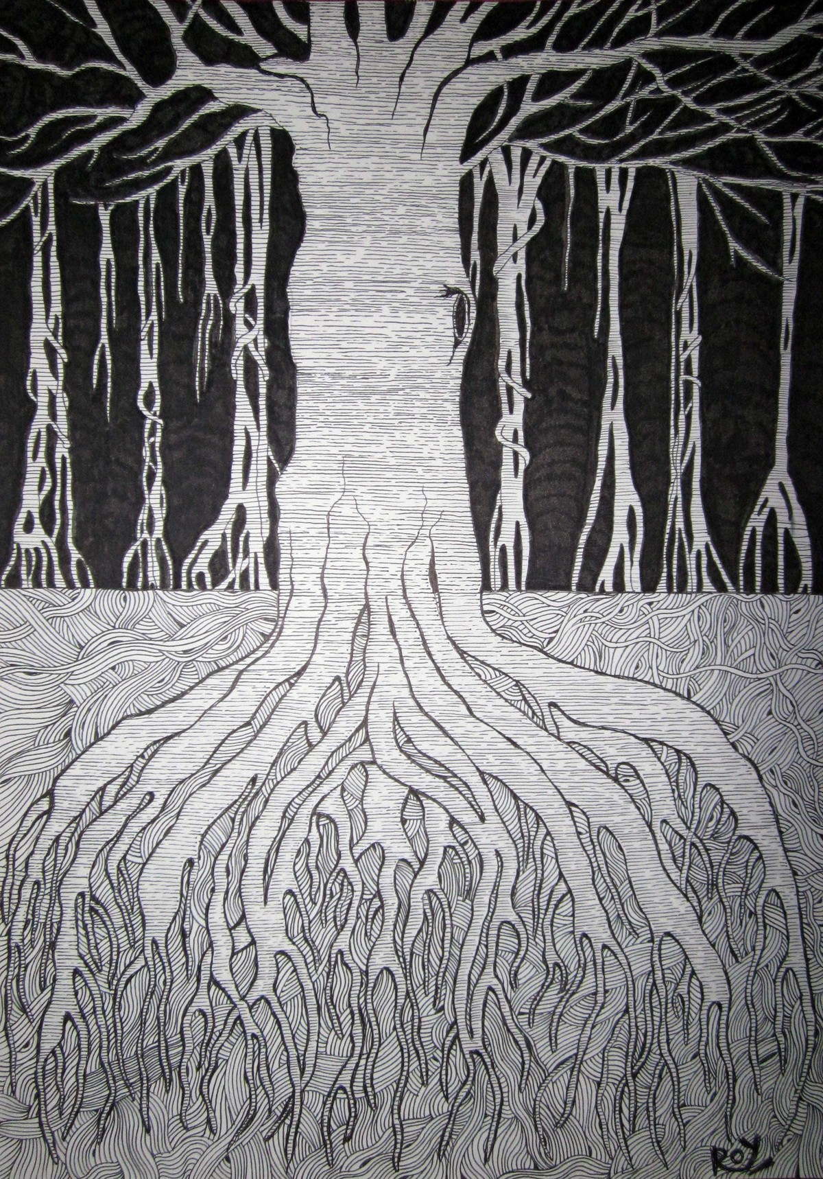 Roots (1) by Priyabrata Roy Chowdhury, Illustration, Illustration Painting, Pen & Ink on Paper, Gray color