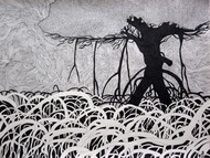 Roots (2) by Priyabrata Roy Chowdhury, Illustration, Illustration Painting, Pen & Ink on Paper, Gray color