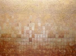 Game by Prashant Mahangare, Geometrical, Geometrical Painting, Mixed Media on Canvas, Beige color