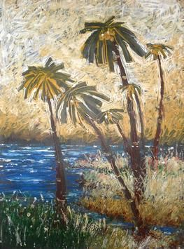 Landscape by Prashant Mahangare, Impressionism, Impressionism Painting, Acrylic on Paper, Beige color