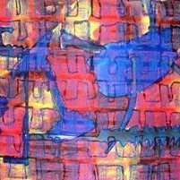 Bones by Prashant Mahangare, Abstract, Abstract Painting, Mixed Media on Paper, Purple color