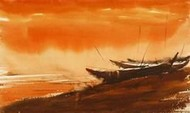 Boats 6 by Raktim Chatterjee, Painting, Watercolor on Paper, Orange color