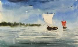 Boats 7 by Raktim Chatterjee, Painting, Watercolor on Paper, Beige color